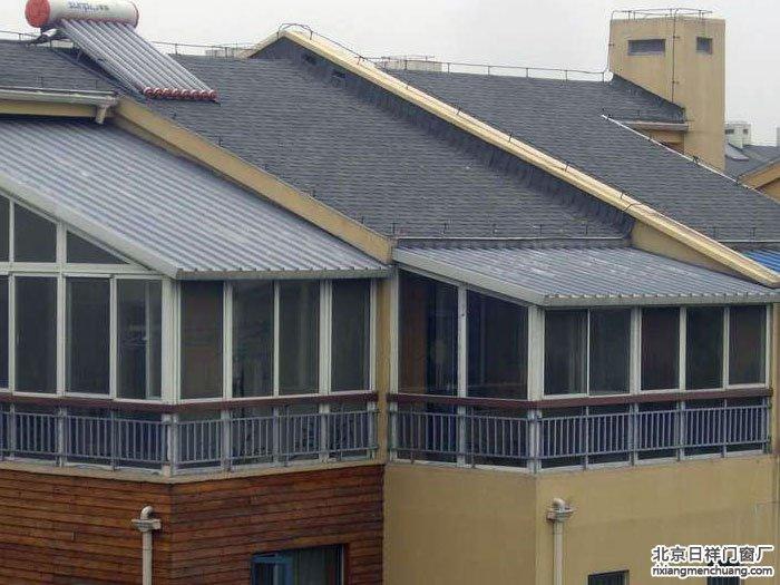 彩钢板顶断桥铝门窗阳光房