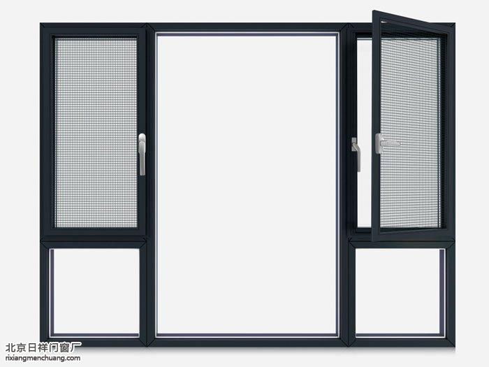 坚美断桥铝外平开窗金刚网一体窗